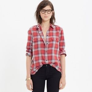 MADEWELL Ex Boyfriend shirt in cherry plai…